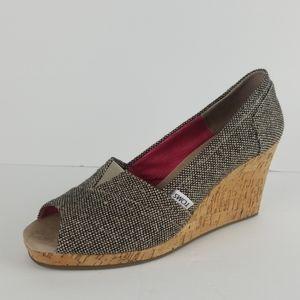 Toms wedge heel peep toe cork heels 9